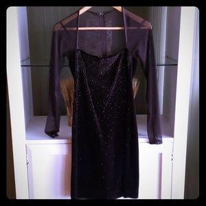 Takashi xs chocolate brown velvet mini dress w seq